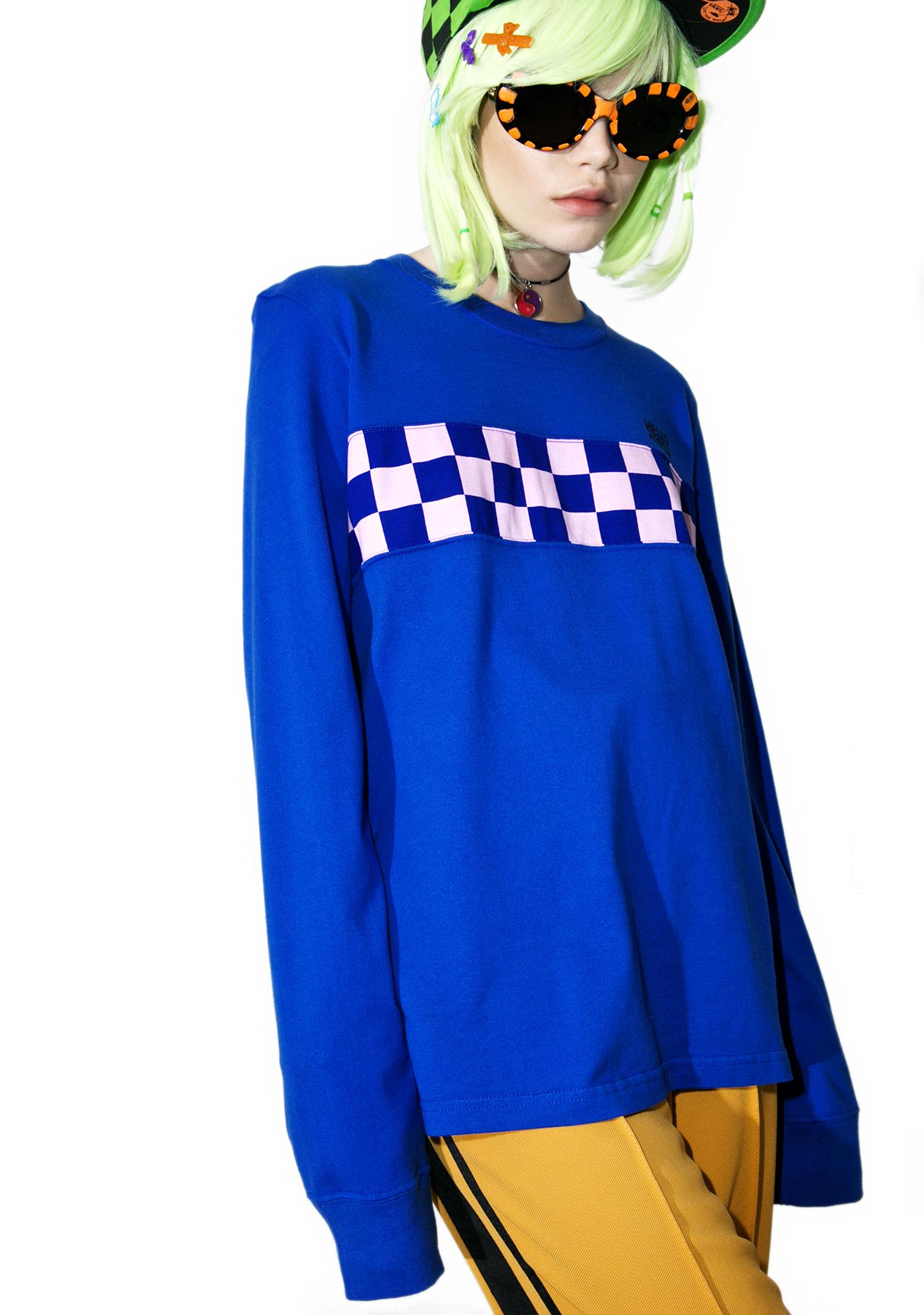 x-Girl Checkered Panel Long Sleeve Tee