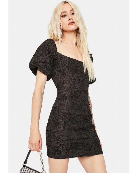 Textured Black Puff Sleeve Mini Dress