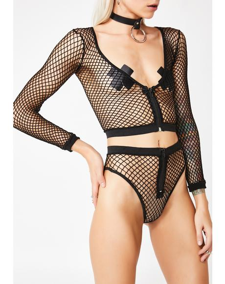 Raw Nerves Fishnet Lingerie Set