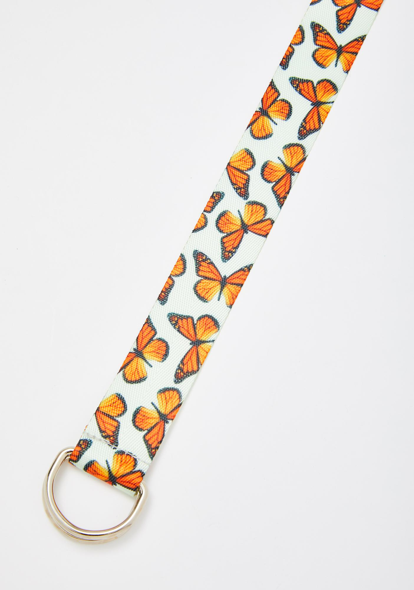 Petals and Peacocks Butterfly Effect Canvas Belt