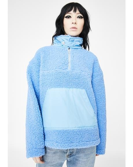 Blue Zipper Sherpa Pullover