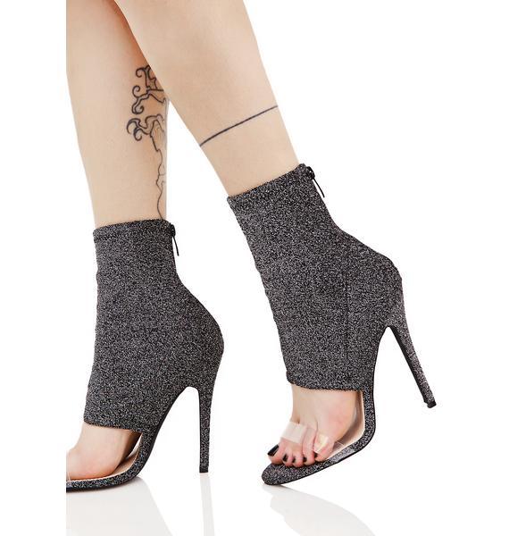 Public Desire Ishani Sock Fit Perspex Strap Shoe Boot