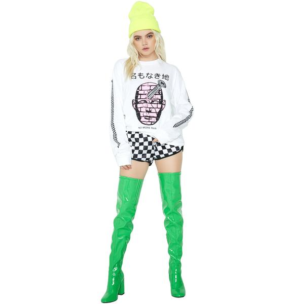 NO WH3R3 No Pain Graphic Long Sleeve Tee