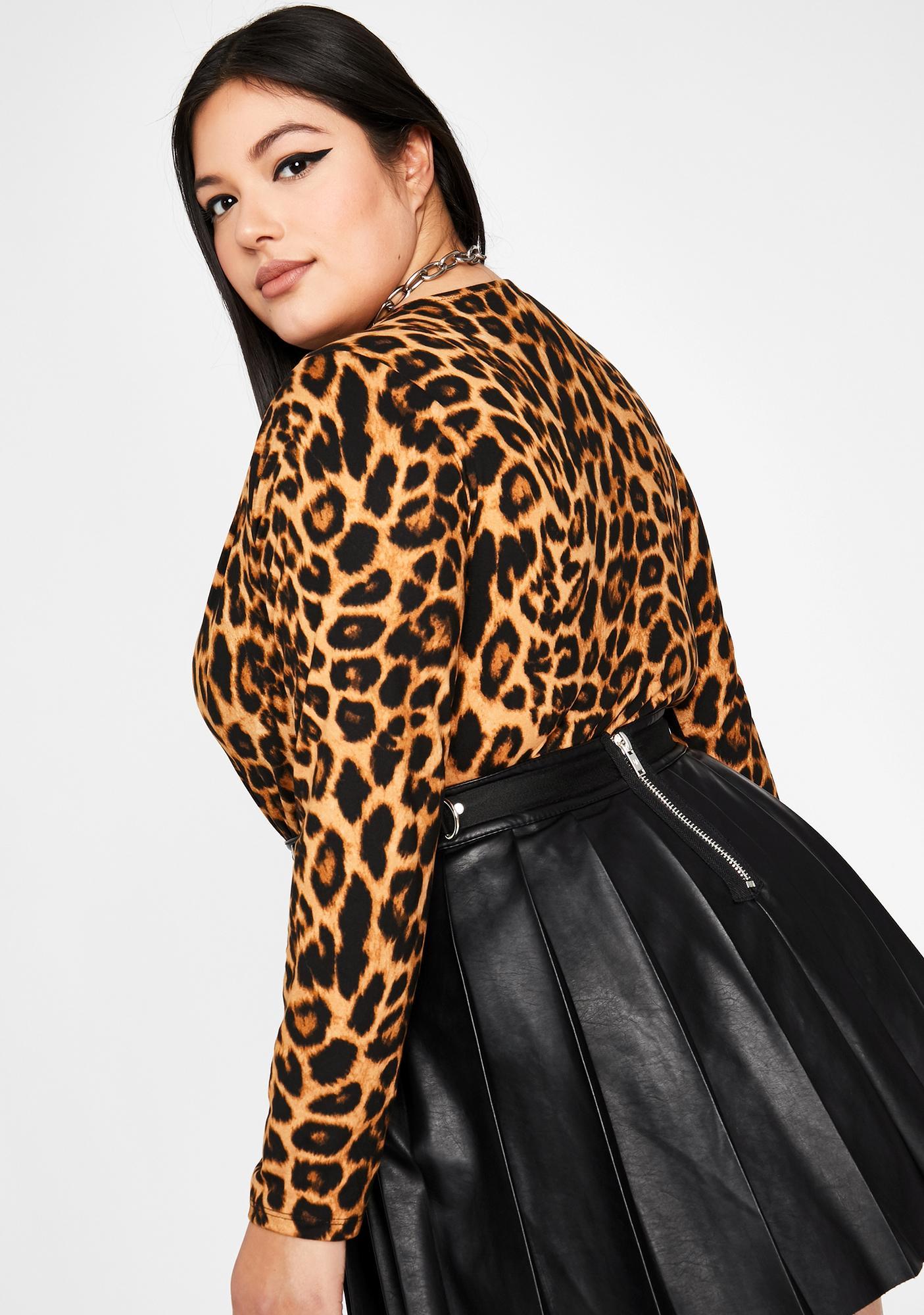 Can't Cross Me Leopard Bodysuit