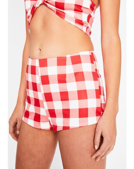 Cherry Somebody Like U Checkered Shorts