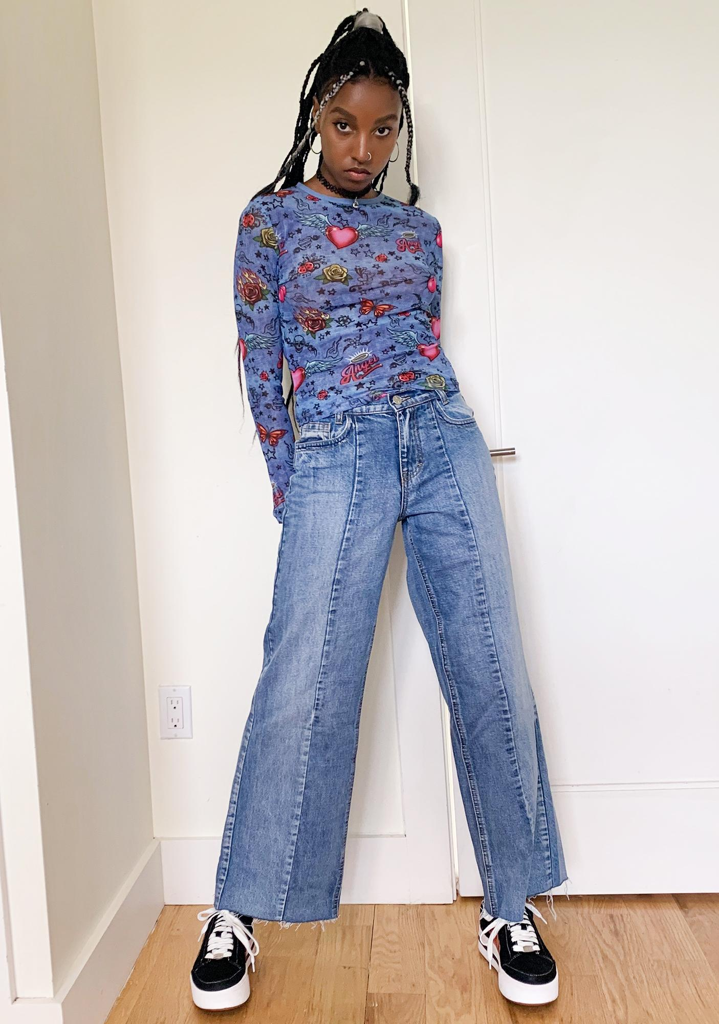 dELiA*s by Dolls Kill Go The Distance Wide Leg Jeans
