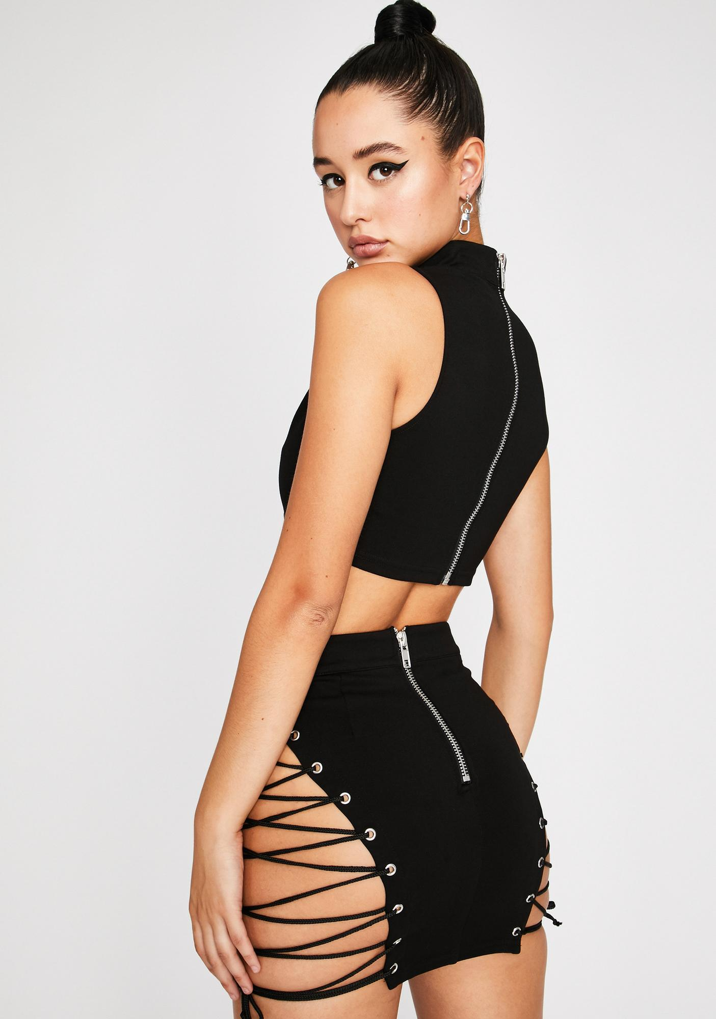 Poster Grl Baddie Tingz Lace Up Skirt