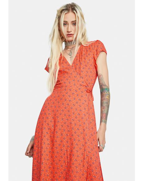 Happiness Blooms Wrap Midi Dress
