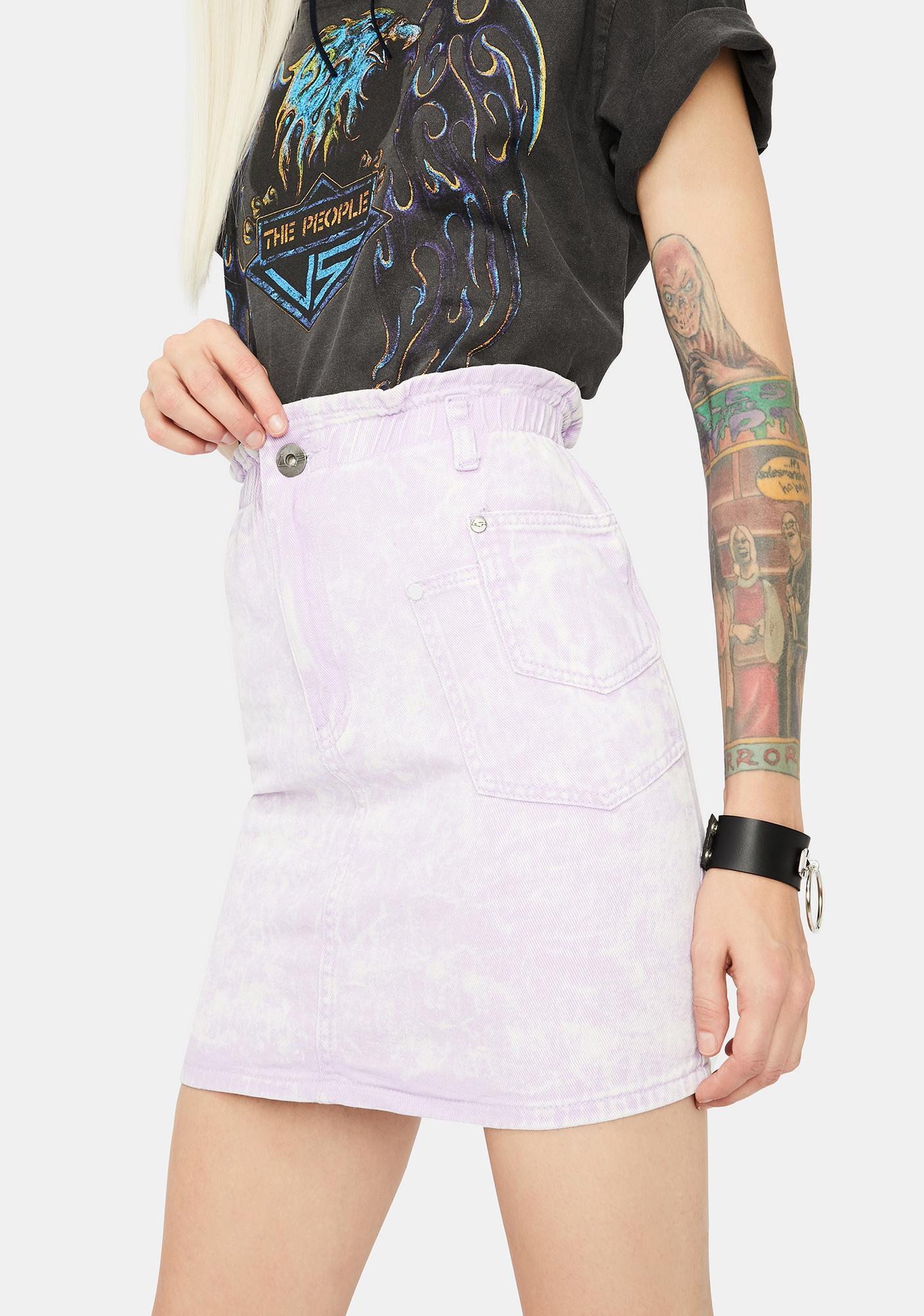 Liquor N Poker Lilac Outta Limits Denim Mini Skirt