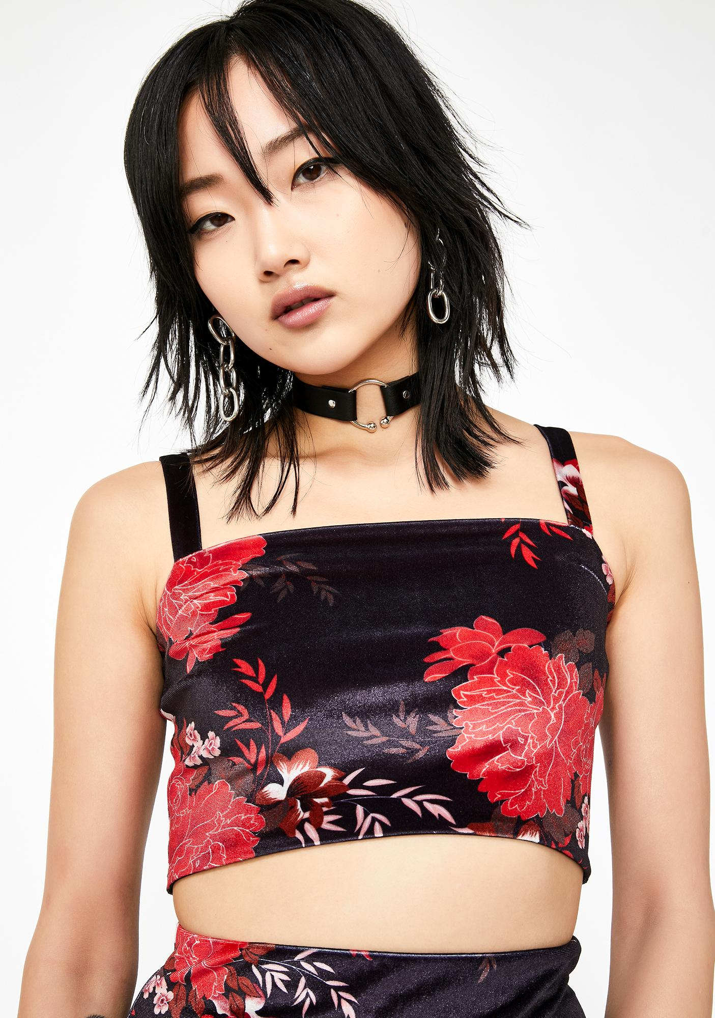 Current Mood Fire Blossom Velvet Crop Top