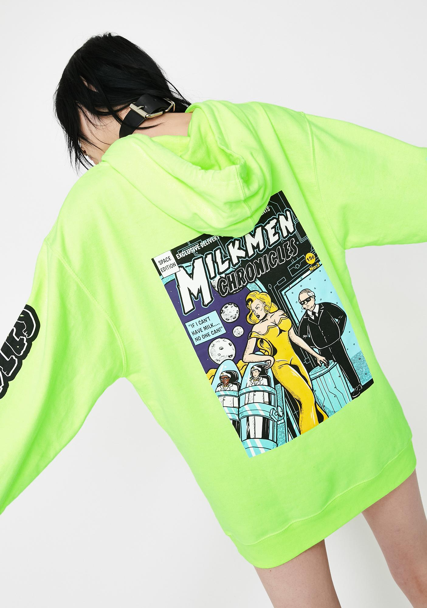 EXCLUSIVE DELIVERY CO. Neon Green She Devil Pullover Hoodie
