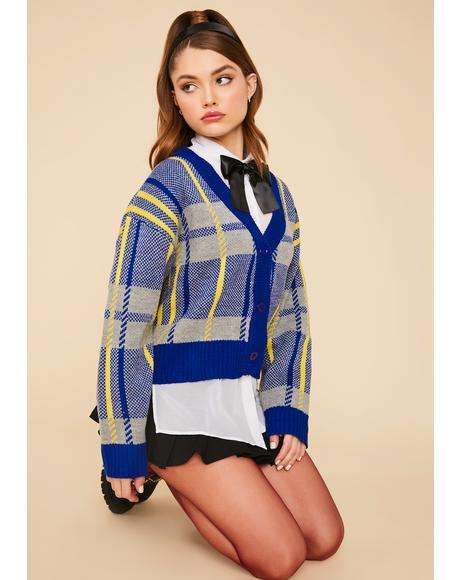 Navy Moonlight Plaid Knit Button Up Cardigan