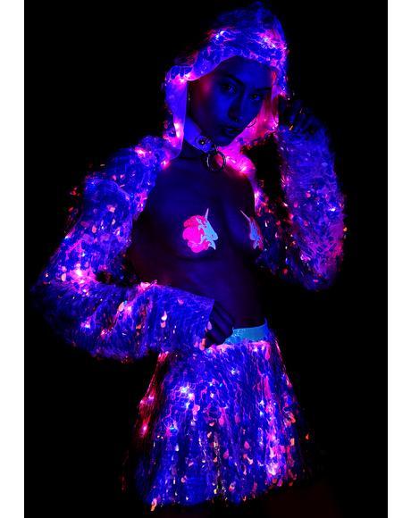 Water Opal Light Up Sequin Skirt