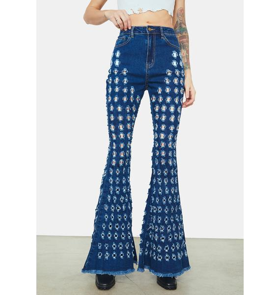 Breaking Point Distressed Circles Flared Jeans