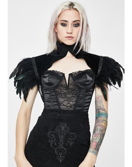 Gothic Velvet Feathers Shrug