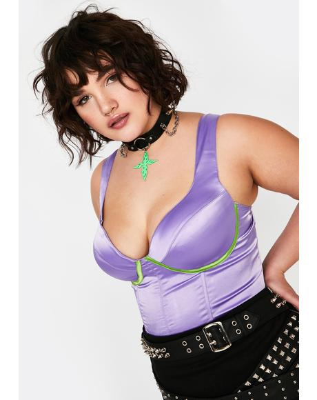 Grape Plz Look Don't Touch Satin Bustier