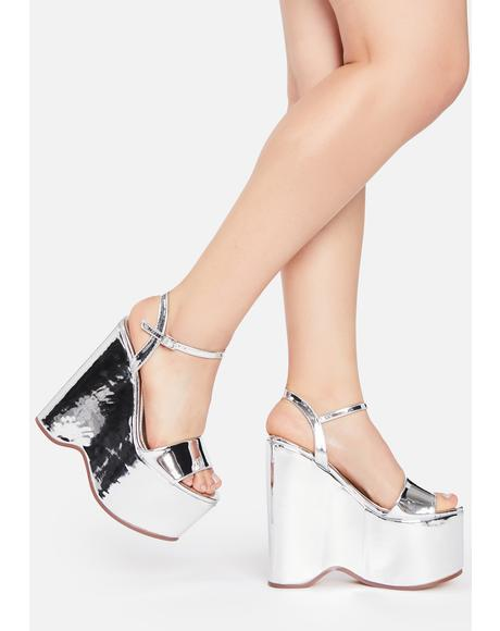 Silver Pop Wedge Heels