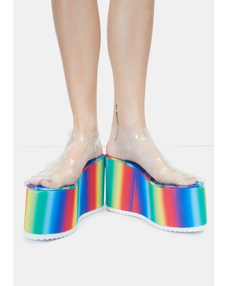 Rainbow Zahara Platform Sandals