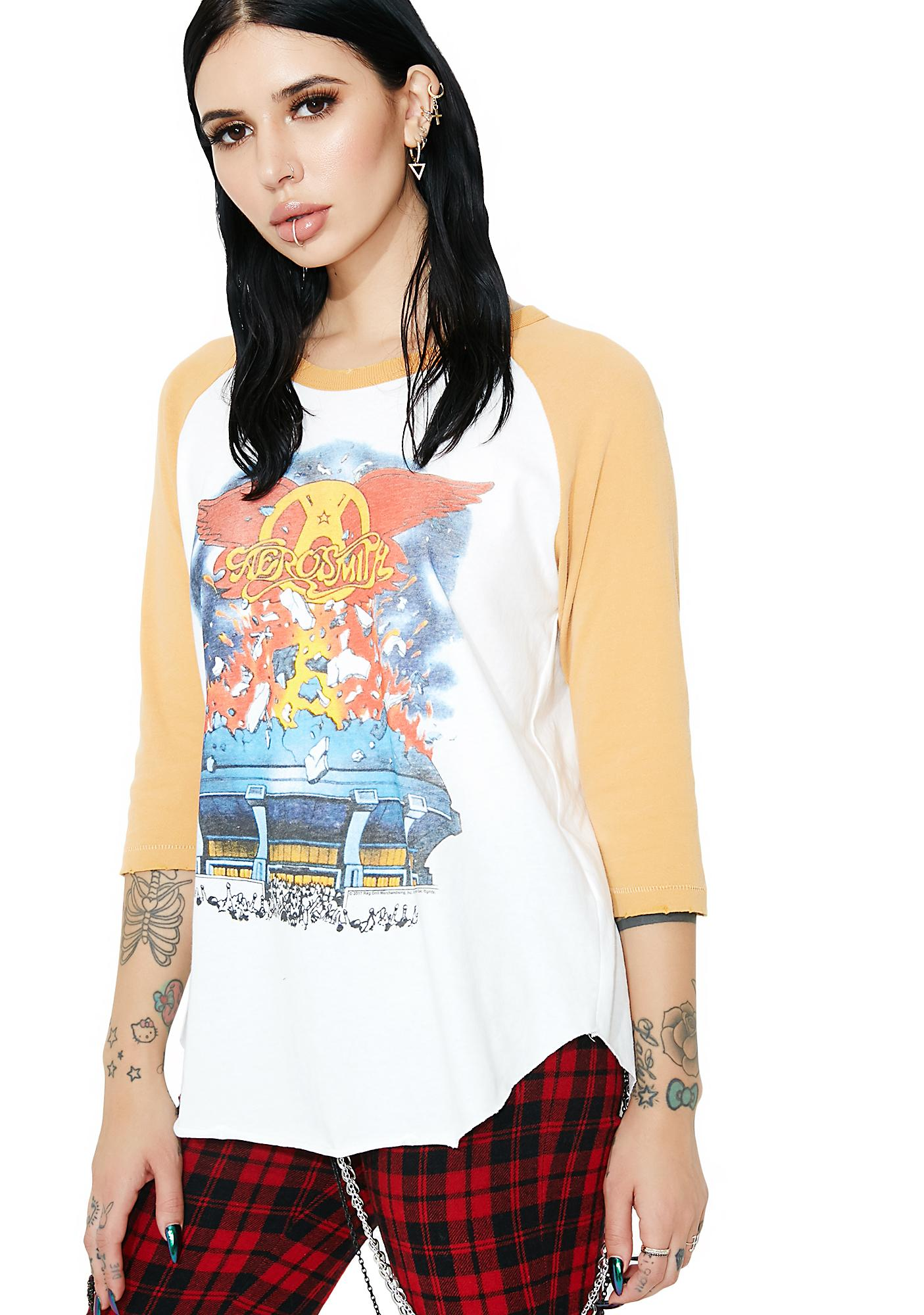 Junk Food Clothing Aerosmith On Tour '84 Backstage Raglan Tee