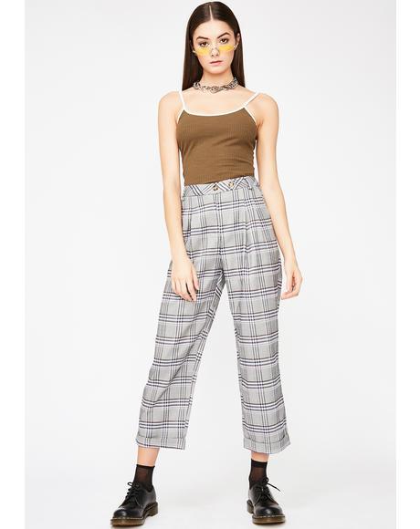 Say Something Plaid Trouser
