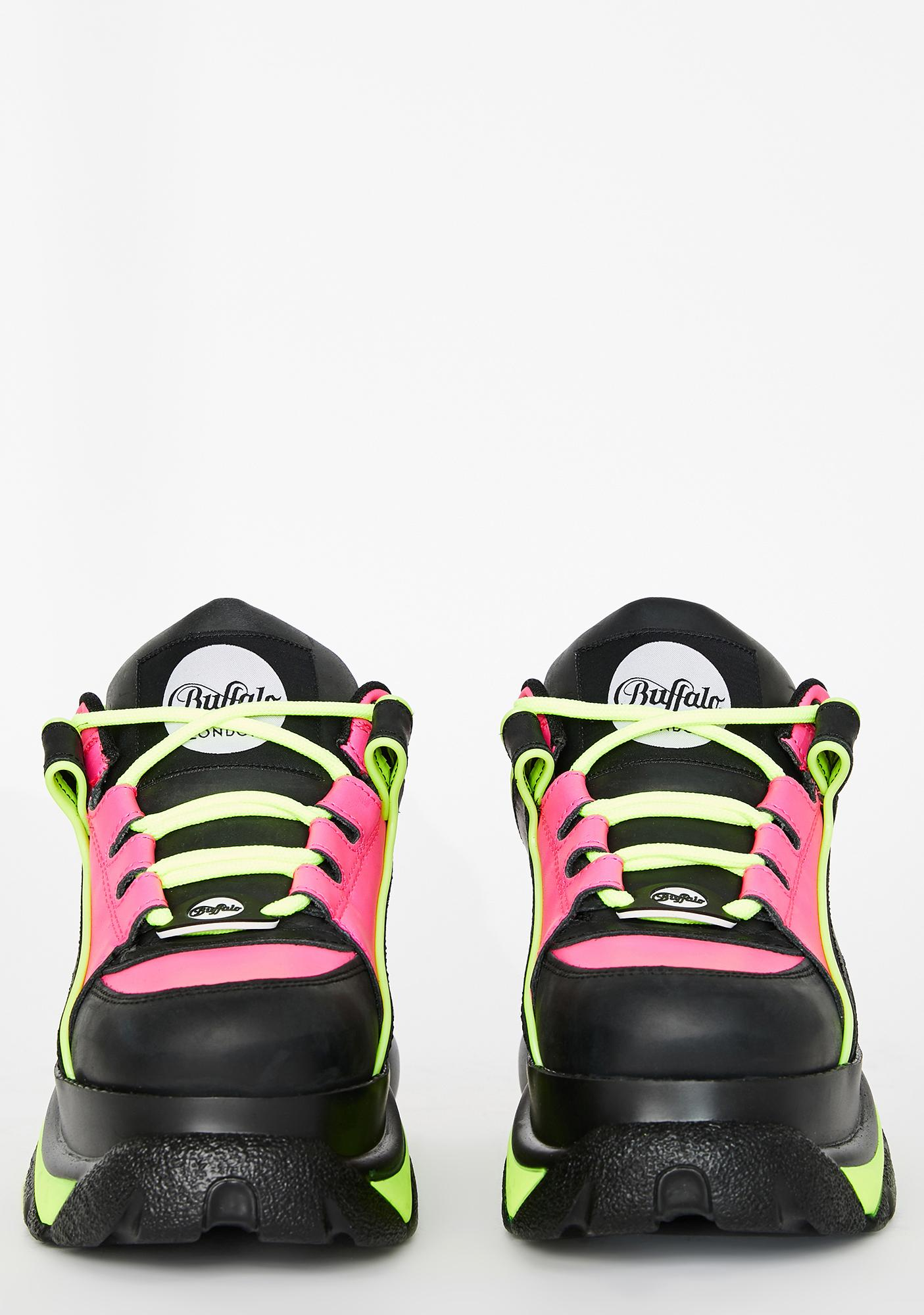Buffalo London Fuchsia Neon Classic Low Leather Sneakers