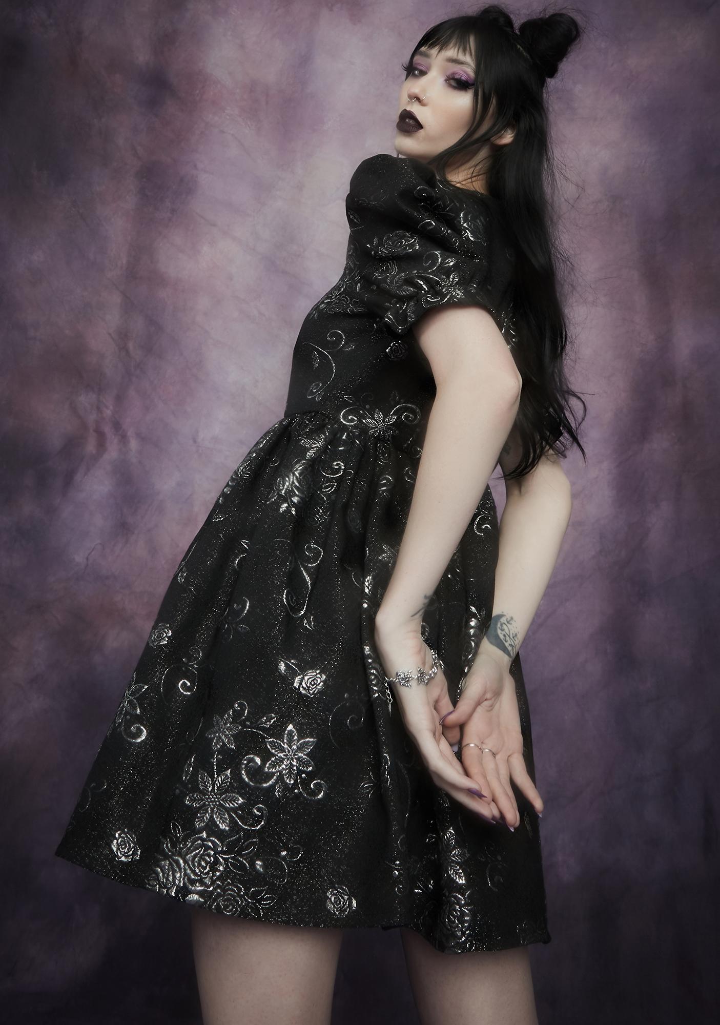 Widow Night Music Brocade Babydoll Dress