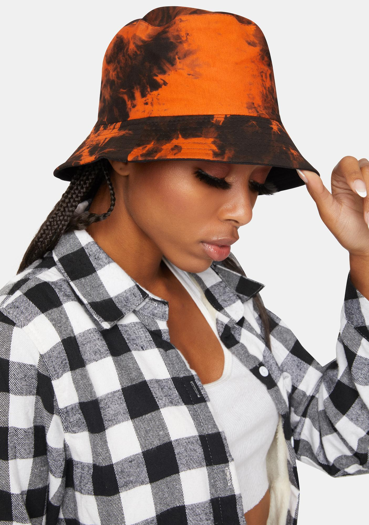 Tie Dye Bucket Hat Orange Black Dolls Kill