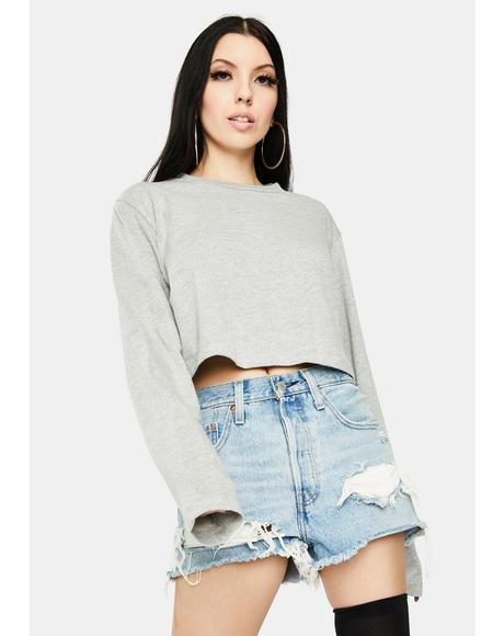 Grey Boxy Long Sleeve Crop Top