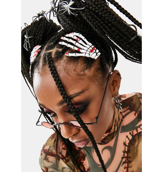 Bloody Skeleton Grasp Hair Clips