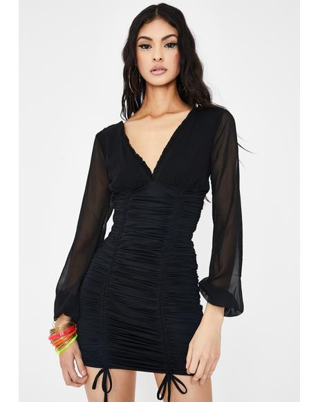 Black Magnolia Mini Dress