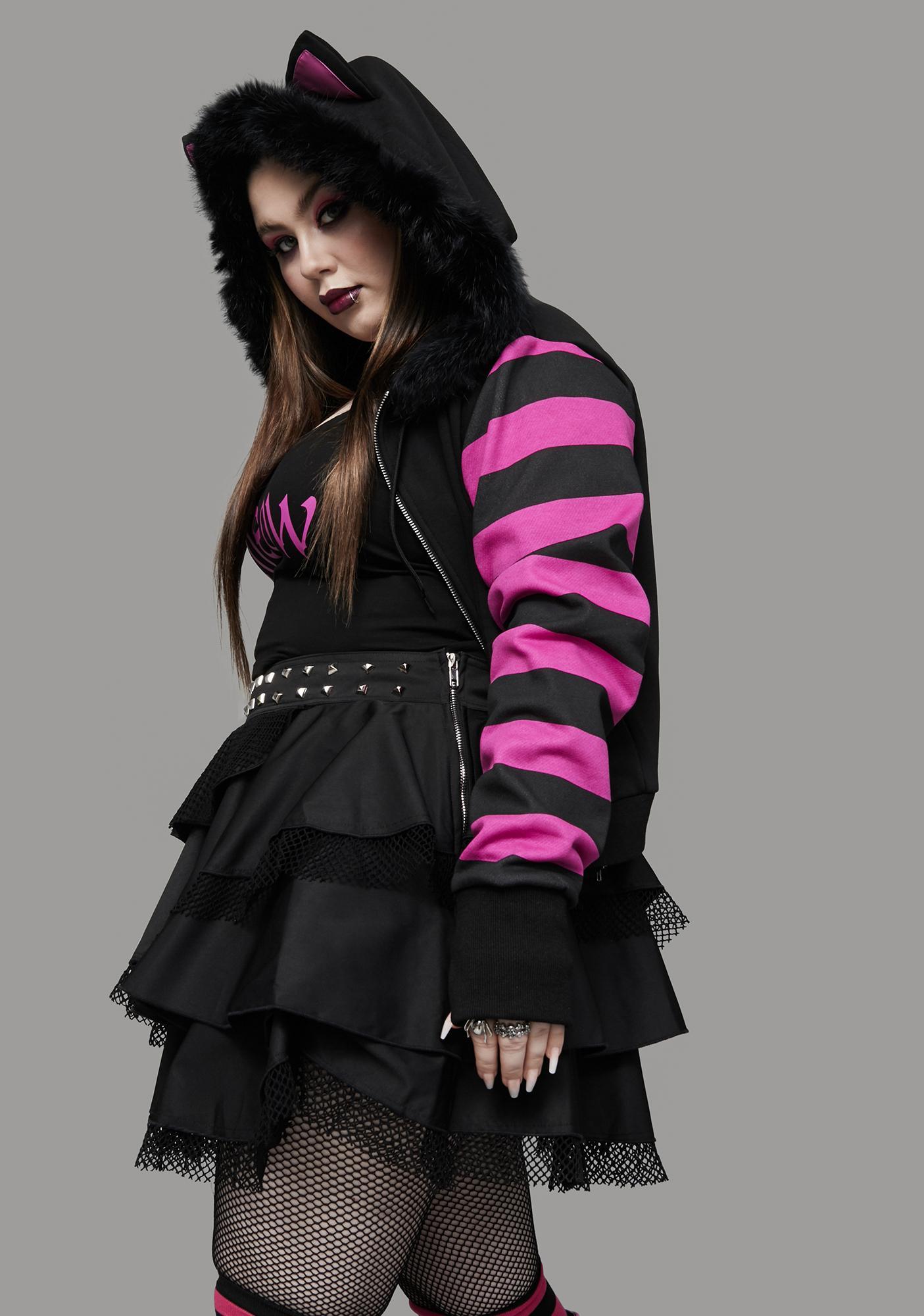 Widow Total Psycho Kitty Striped Zip-Up Hoodie