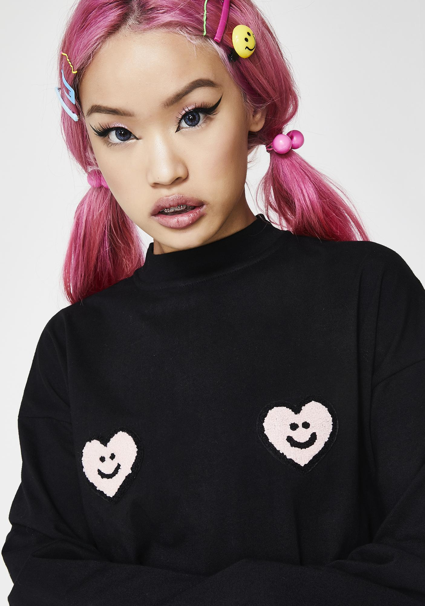 Lazy Oaf Double Heart Long Sleeve Top