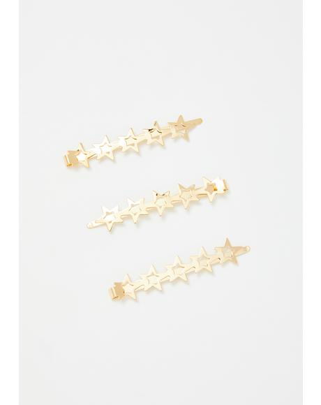 Golden Star Bright Hair Pin Set