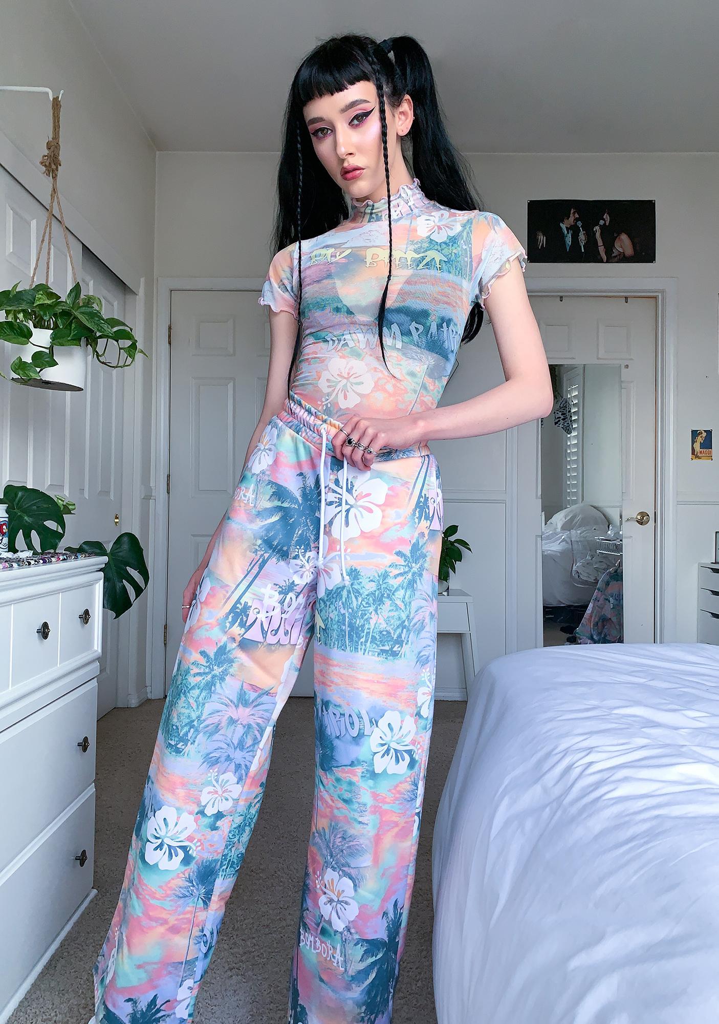 Jaded London Washed Hawaiian Print Cap Sleeve Bodysuit