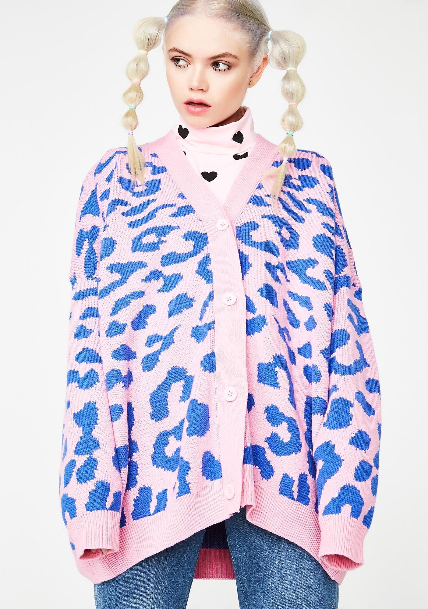 Lazy Oaf Pink Leopard Cardigan