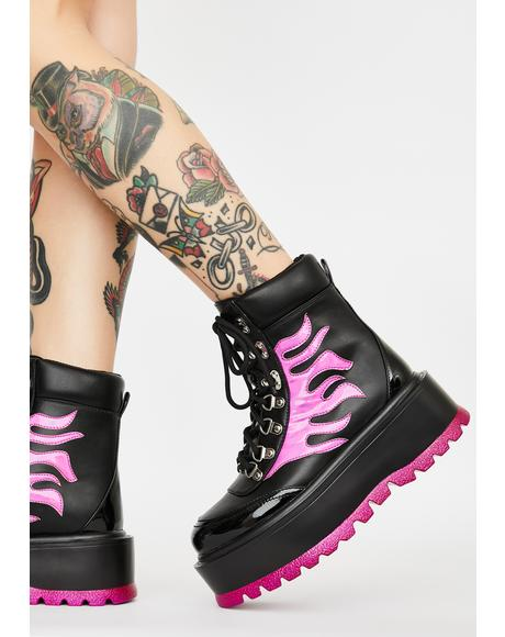 Purple Helios Flame Combat Boots