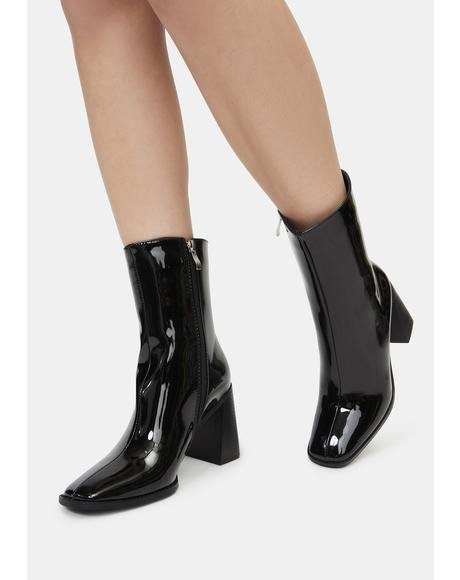 Black Patent Don't Need You Tonight Booties