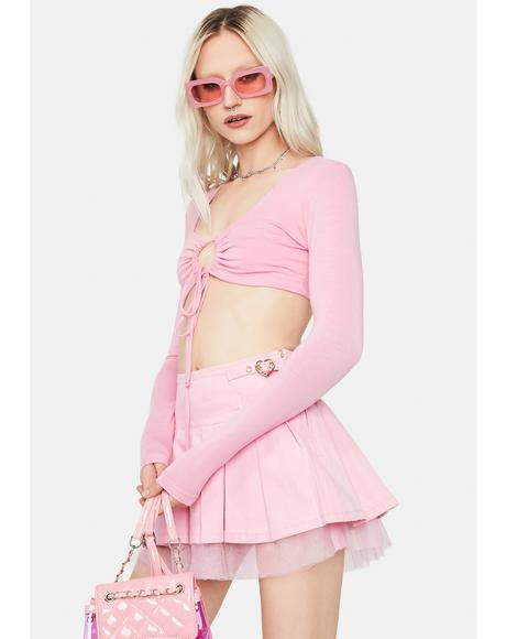 Bubblegum Big Moves Front Tie Crop Top