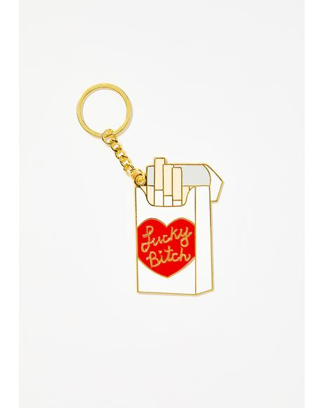 Lucky Bitch Cigarette Keychain