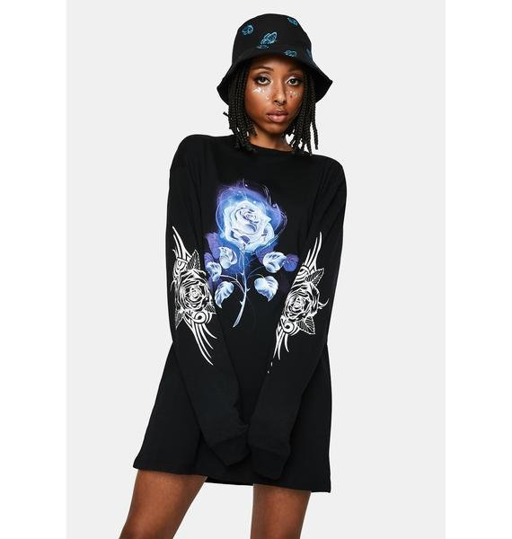 NEW GIRL ORDER Tee Dress With Tribal Rose