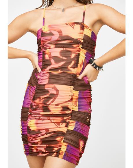 Holiday Mesh Mini Dress