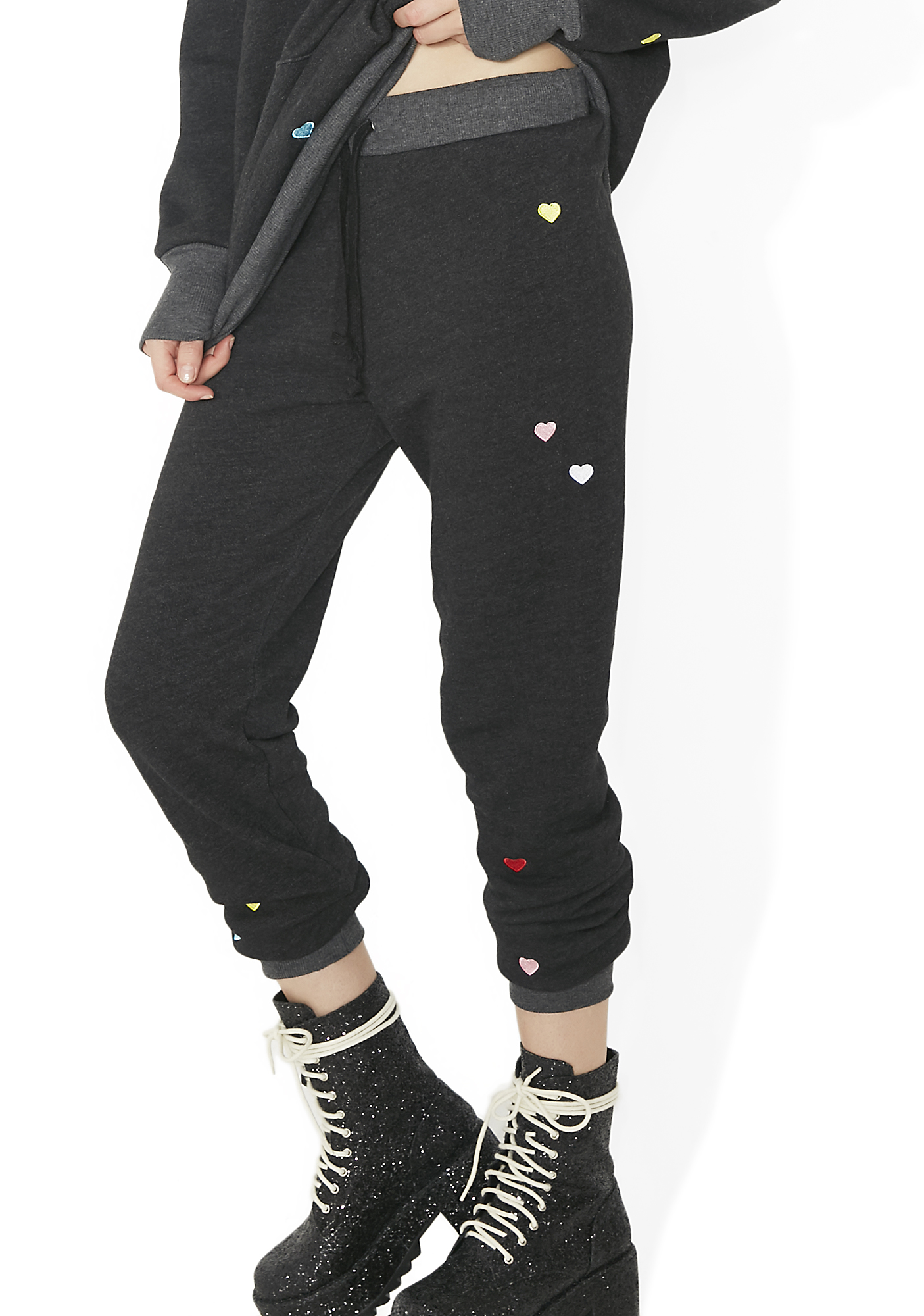 Wildfox Couture Multi-Colored Heart Embroidery Jack Jogger