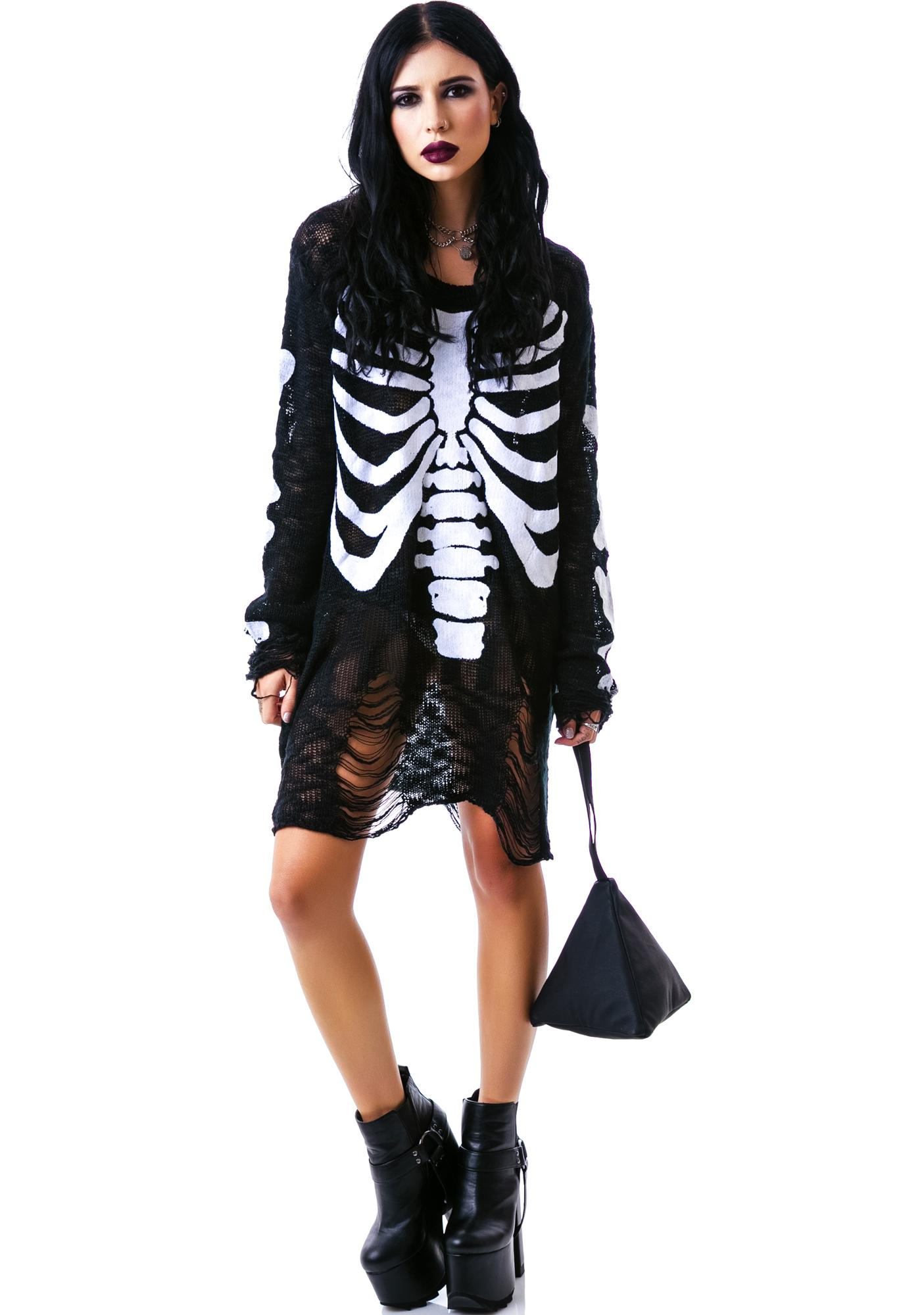 Killstar Ribcage Knitted Sweatshirt