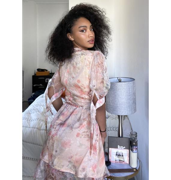 Glamorous Pink Floral Mini Wrap Dress
