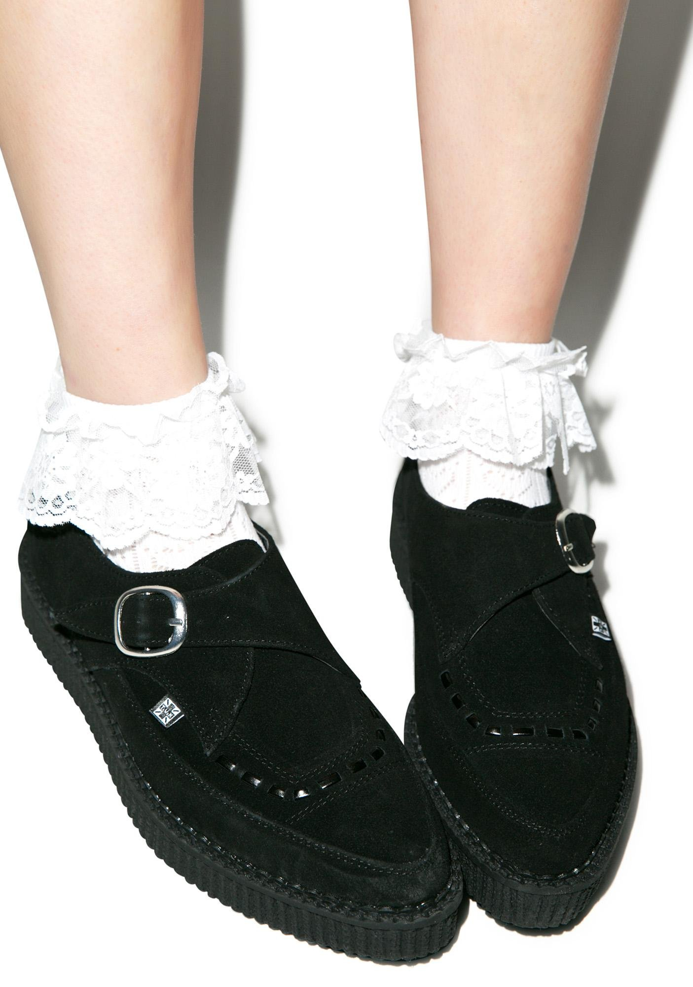 e1a097bbfcf T.U.K. Black Suede Buckle Pointed Creepers
