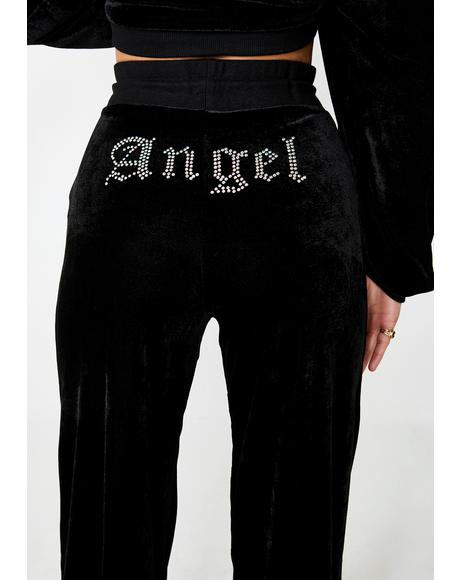 Angel Diamante Wide Leg Joggers