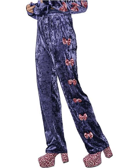 Velvet Bow Track Pants