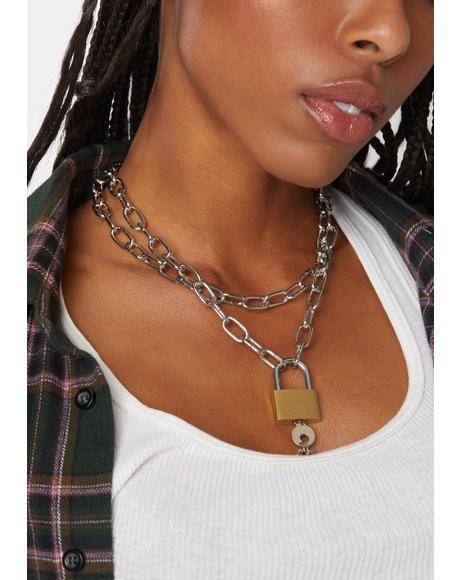 Minor Key Lock Chain Necklace