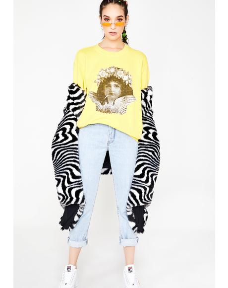 Smoking Cherub Print Sweater