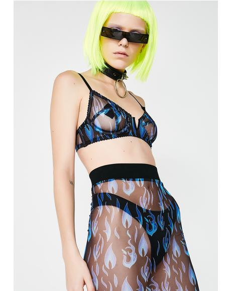 Electric Fire Sheer Bra